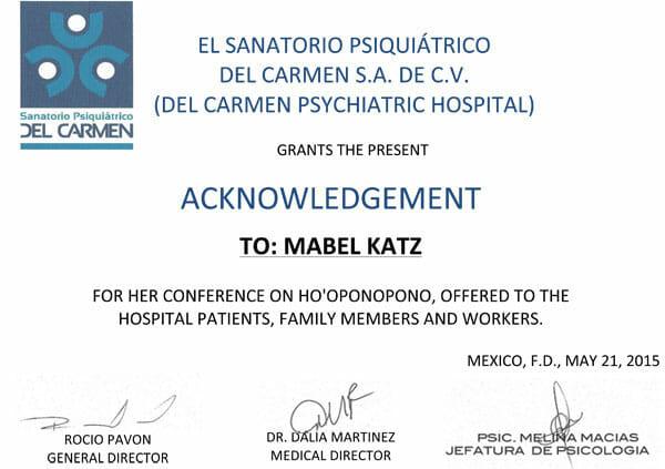 Del Carmen Psychiatric Hospital Letter May 2015 en